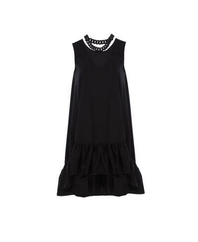 Volant Kleid mit Kette-Nero-Schwarz-S