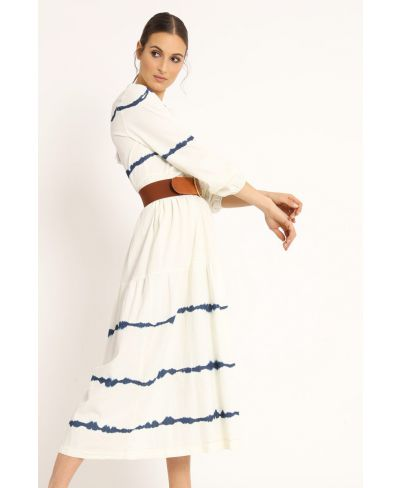 Langes Batik Kleid-Bianco-Weiss-S-M