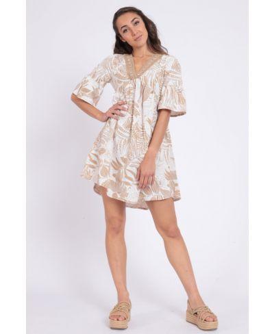 Kleid Stampa-Beige-S-M