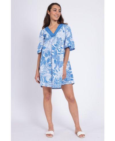 Kleid Stampa-Blu-Blau-S-M
