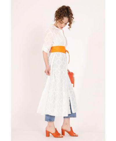 Langes Kleid Sangallo-Bianco-Weiss-S-M