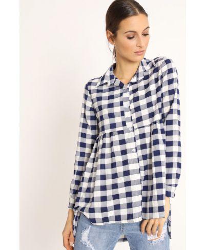 Camicia Quadri-Blu-Blau-S-M