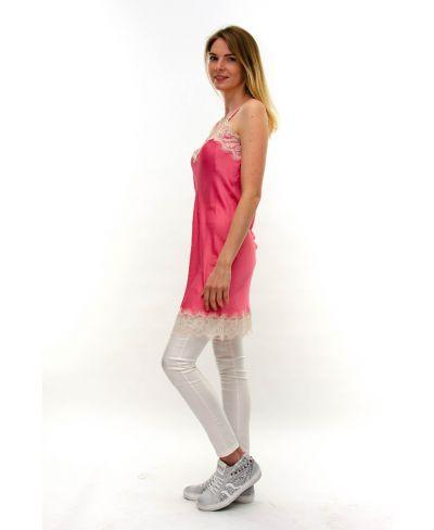 Kleid mit Spitze-Fuchsia-Pink-S