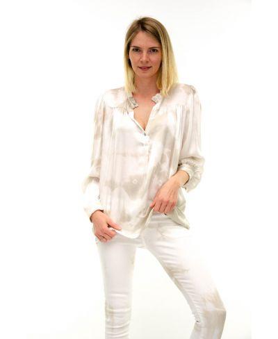Bluse Batik Rouches-Beige-S