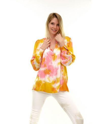 Bluse Batik Rouches-Viola-S