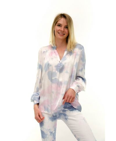 Bluse Batik Rouches-Fuchsia-Pink-S