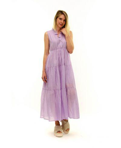 Langes Kleid Rouches-Viola-S-M
