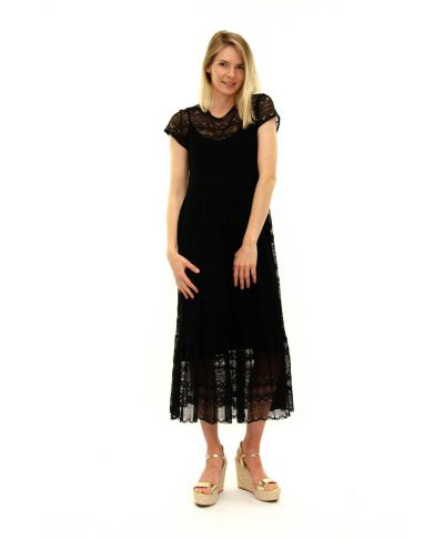 Kleid Pizzo-Nero-Schwarz-S-M