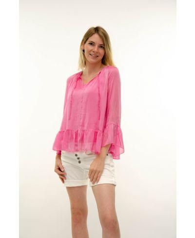 Seidenbluse Volant-Fuchsia-Pink-S