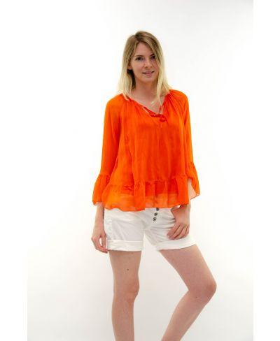 Seidenbluse Volant-Arancio-Orange-S