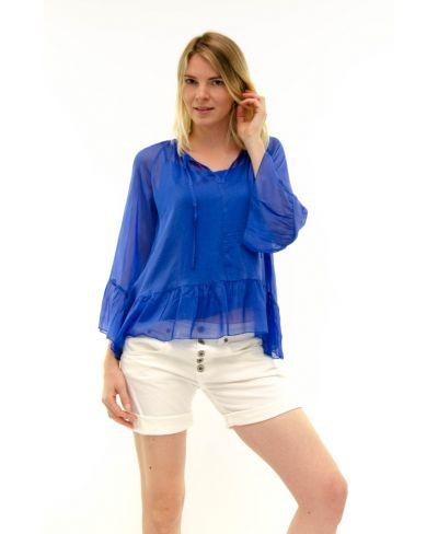 Seidenbluse Volant-Blu-Blau-S