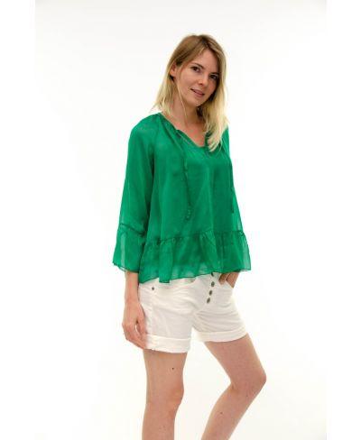 Seidenbluse Volant-Verde-Grün-S