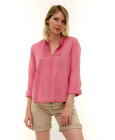 Bluse mit Häkeleinsatz-Fuchsia-Pink-S