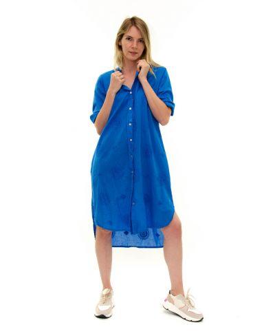 Long Bluse bestickt-Blu-Blau-S-M