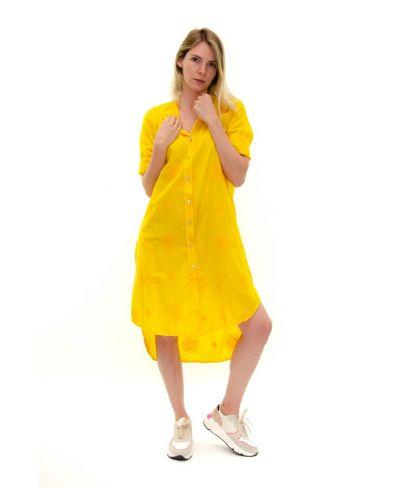Long Bluse bestickt-Giallo-Gelb-S-M
