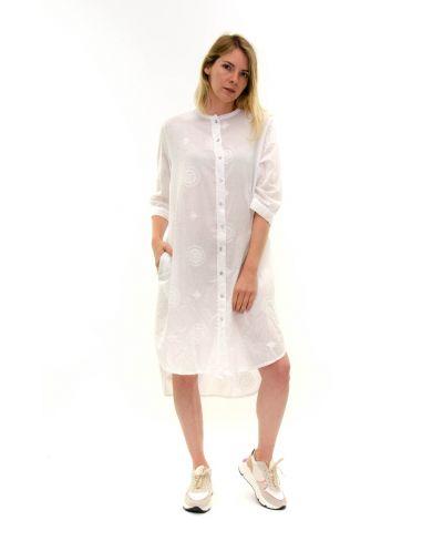 Long Bluse bestickt-Bianco-Weiss-S-M