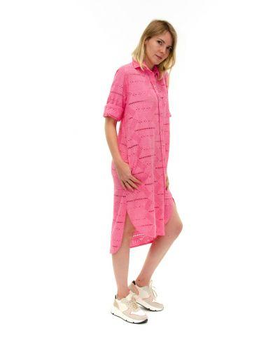 Long Bluse bestickt-Fuchsia-Pink-S-M