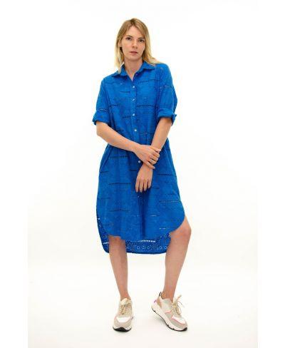 Long Bluse Sangallo-Blu-Blau-Taglia Unica