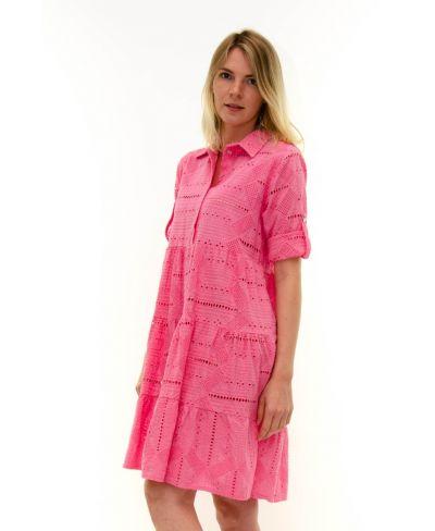 Kleid Sangallo mit Knopfleiste-Corallo-Koralle-S-M