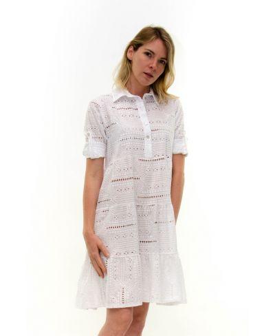 Kleid Sangallo mit Knopfleiste-Bianco-Weiss-S-M