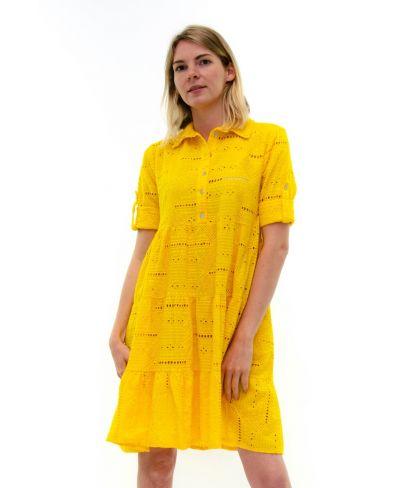 Kleid Sangallo mit Knopfleiste-Giallo-Gelb-S-M