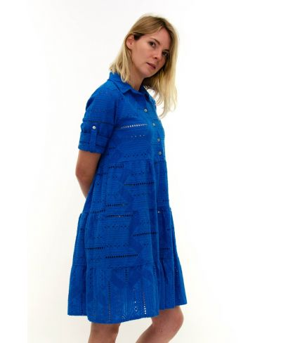 Kleid Sangallo mit Knopfleiste-Blu-Blau-S-M