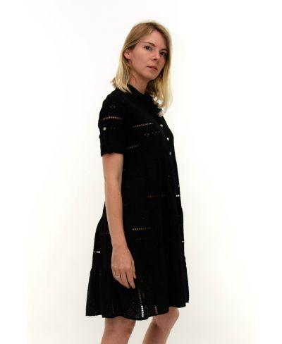 Kleid Sangallo mit Knopfleiste-Nero-Schwarz-S-M