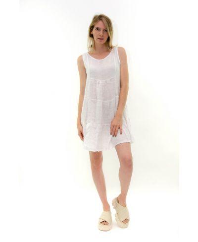 Leinen Kleid kurz-Bianco-Weiss-S