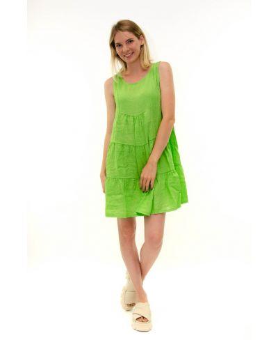 Leinen Kleid kurz-Verde-Grün-S