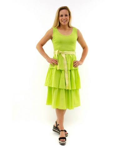 Ripp Träger Kleid-Verde-Grün-S
