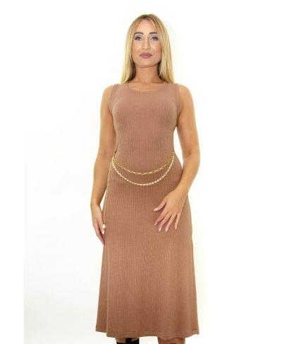 Kleid Ripp Optik mit Kette