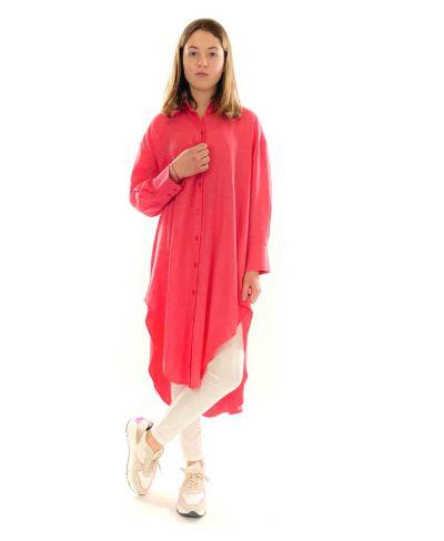Camicione Color Oversized-Fuchsia-Pink-Taglia Unica