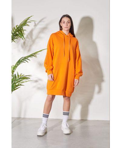 Kapuzensweater Over-Arancio-Orange-S