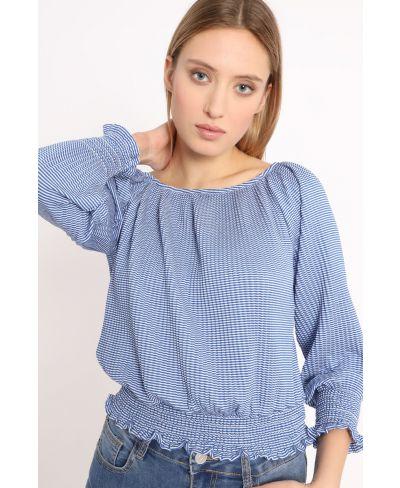 Shirt Plissee Rigato-Blu-Blau-S-M