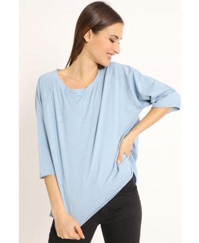 Shirt Raglan Over-Celeste-Hellblau-Taglia Unica
