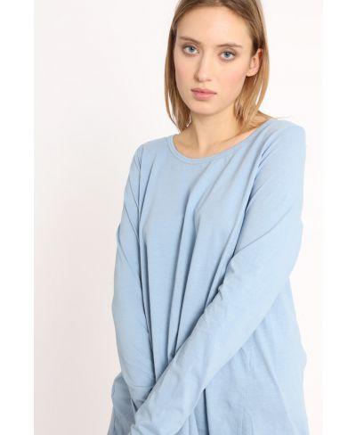 T-Shirt mit Rückenfalte-Celeste-Hellblau-Taglia Unica