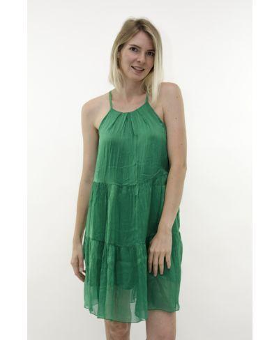 Träger Seidenkleid-Verde-Grün-S