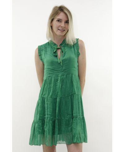 Seiden Kleid mit Kragen-Verde-Grün-S