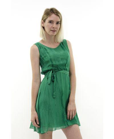 Seidenkleid mit Gürtel-Verde-Grün-S