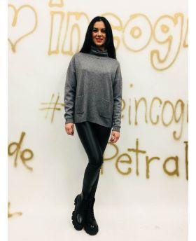 Pullover Dolce Vita mit Taschen-Antracite-Dunkelgrau-Taglia Unica