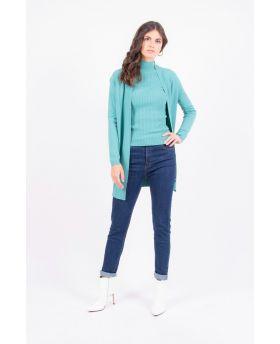 Pullover Lupetto Spacco-Verde-Grün-Taglia Unica