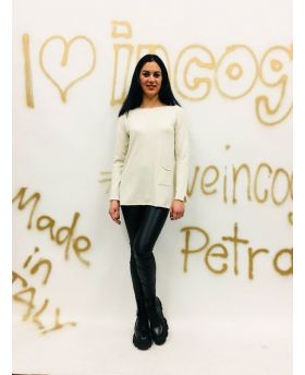 Pullover mit Tasche-Bianco-Weiss-S-M