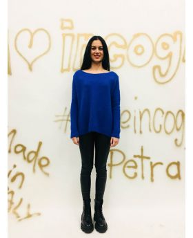 Pullover Schlitz-Blu-Blau-Taglia Unica