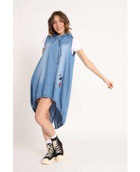 Kapuzen Jeanskleid mit Shirt