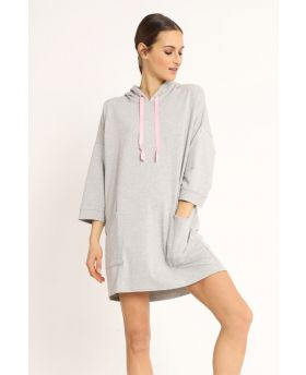 Sweat Kleid Kapuze-Grigio-Grau-Taglia Unica