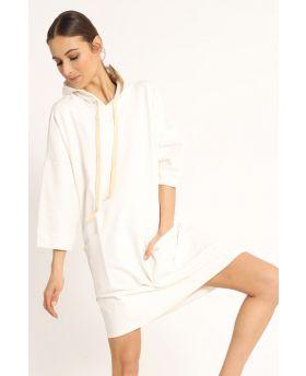 Sweat Kleid Kapuze-Bianco-Weiss-Taglia Unica