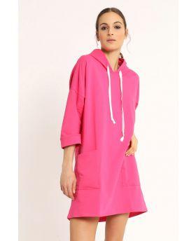 Sweat Kleid Kapuze-Fuchsia-Pink-Taglia Unica