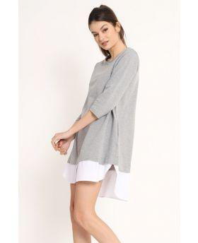 Sweat Kleid Pop-Bianco-Weiss-S-M