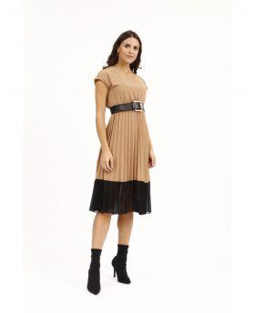 Plisse Kleid two Colors-Beige-M-L