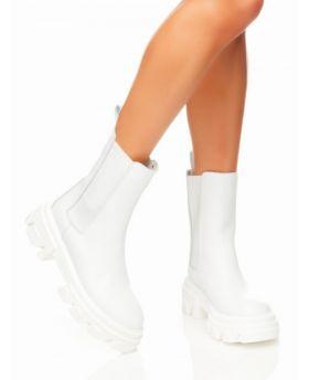 Plateau Ankle Stiefelette-Bianco-Weiss-36